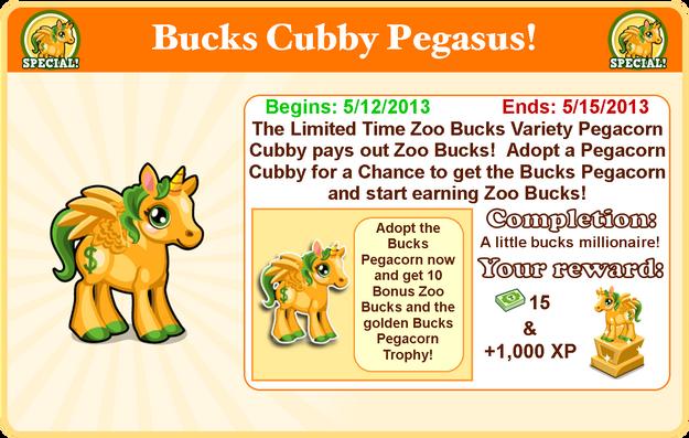Cubby pegasus bucks goal modal