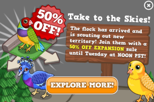 Birds expansion sale modal
