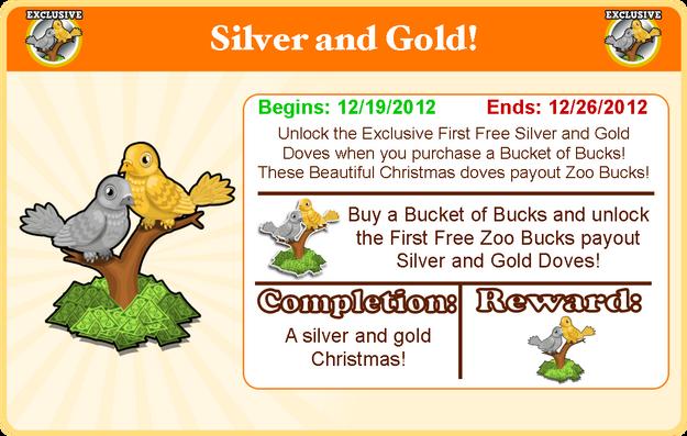 Silver & gold doves goal modal