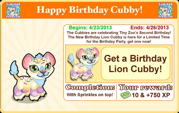 Cubby lion birthday goal modal