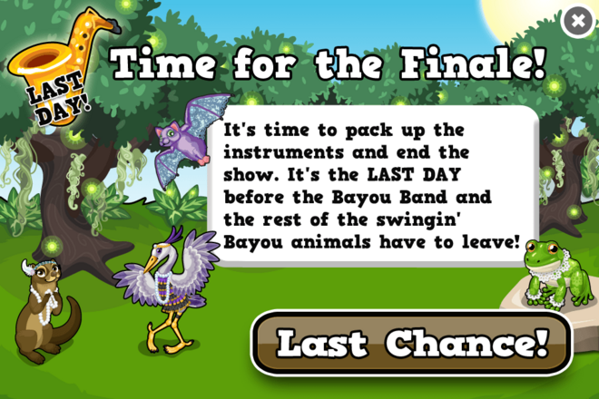 Bayou last modal