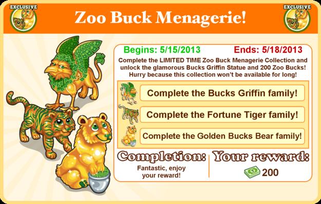 Bucks menagerie collection goal modal
