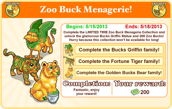 Bucks menagerie collection goal modal