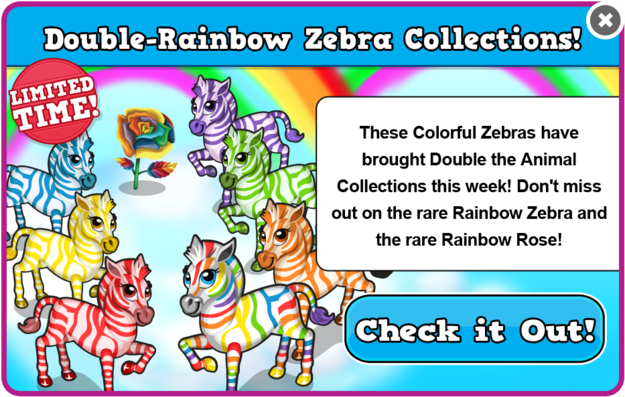 Rainbow zebra collections modal