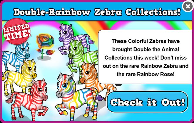 Rainbow zebra collections modal