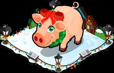 Christmas village pig single