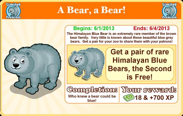 Himalayan blue bear goal modal