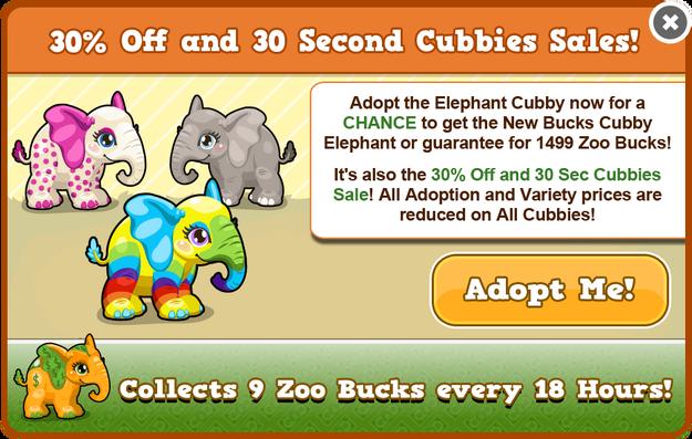 Cubby elephant bucks modal