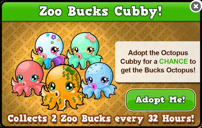 Cubby octopus modal