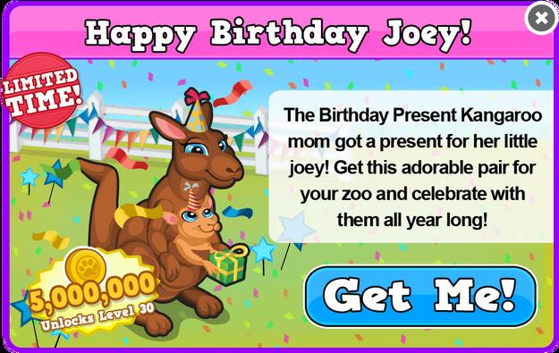 Birthday kangaroo modal
