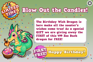 Birthday wish dragon modal