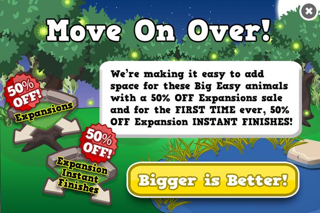 Bayou expansion sale modal