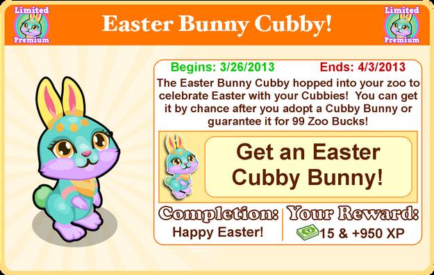 Cubby bunny easter goal modal