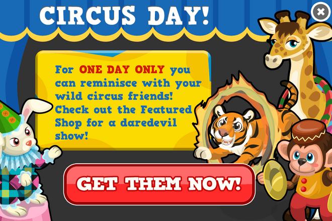 Sams spectacular circus special modal