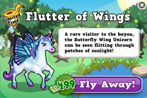 Butterfly wing unicorn modal