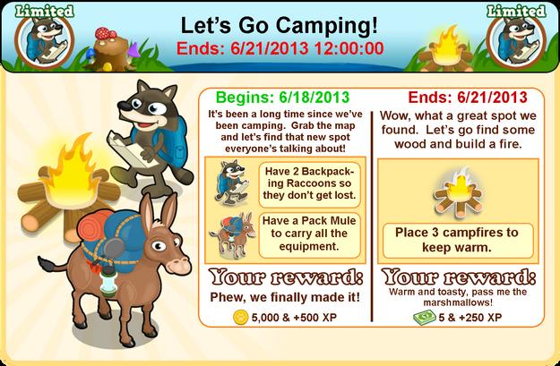 Backpacking raccoon goal modal