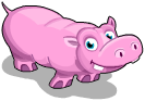 Pink hippo an
