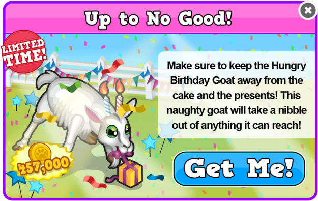 Birthday candle goat modal