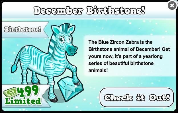 Blue zircon zebra modal