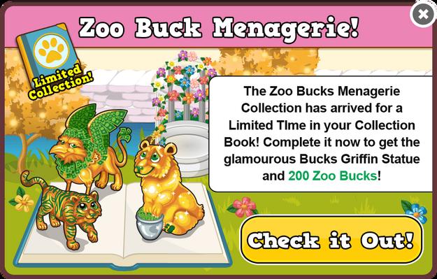 Bucks menagerie collection modal
