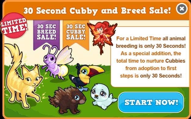 30 second cubby sale modal