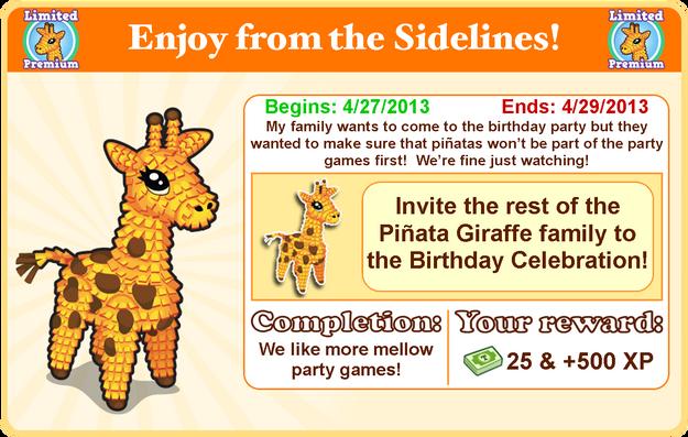 Pinata giraffe goal modal
