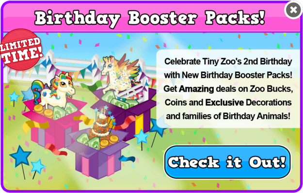 Birthday 2 booster packs modal