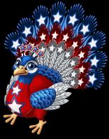 Patriotic peacock single