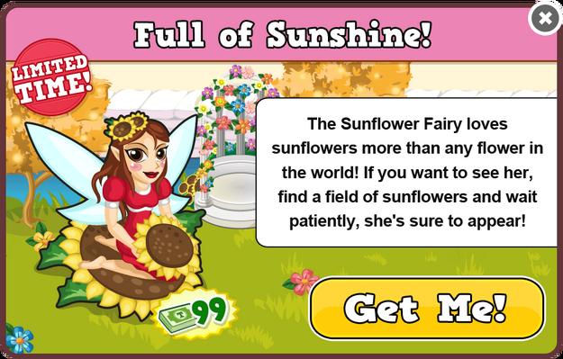 Sunflower fairy modal