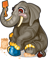 Beach pail elephant single