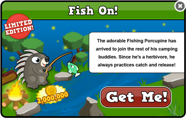 Fishing porcupine modal