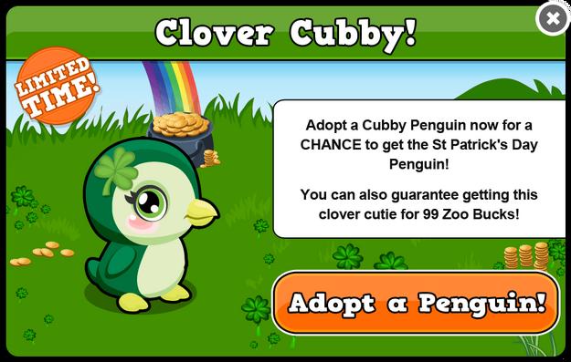 Cubby penguin st. patrick's modal