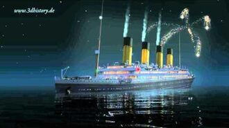 During her sinking, RMS Titanic fires white flares