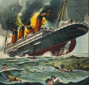 Lusitania Sinking with Explosions