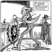"""Cartoon of Uncle Sam taking hold of a ship's wheel marked """"Navigation Laws"""" and saying, """"By ginger, I'll take a firmer grip on this business hereafter."""" At his feet is a paper reading """"Ragged marine regulations"""". A worried-looking man in a top hat marked """"Steamship Magnate"""" looks on. In the distant background a ship can be seen sinking."""