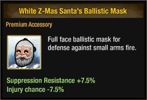 White Z-Mas Santa's Ballistic Mask