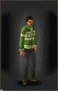 White Z-Mas Cardigan - Green equipped male