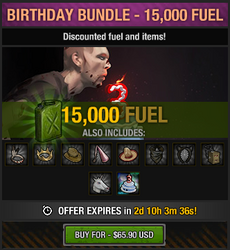 Tlsdz 3rd year birthday bundle 15000 fuel