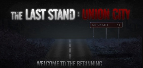 Promotional image released by the game developers showing the road leading to Union City. A sign indicating that the city is eleven miles away is visible on the right. The name of the game is visible across the top, and the words Welcome to the Beginning can be seen at the bottom.