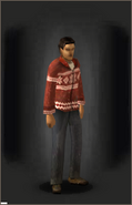 White Z-Mas Cardigan - Red equipped male