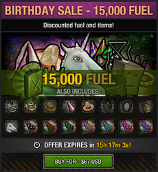 Tlsdz birthday sale 15000 fuel