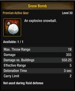 Tlsdz snow bomb stats