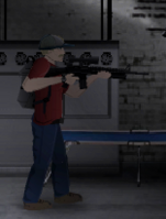 Hank wielding scoped M16A2