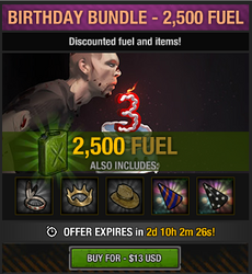 Tlsdz 3rd year birthday bundle 2500 fuel