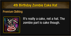 4th Birthday Zombie Cake Hat