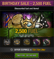 Tlsdz birthday sale 2500 fuel