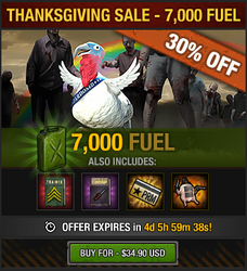 Tlsdz thanksgiving sale 2015 - 7000 fuel
