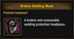 Tlsdz broken welding mask