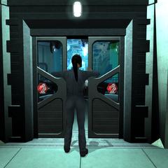 Зои открывает дверь в лабораторию