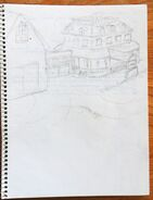 PL Kaybee Toys-bought sketchbook20 sektch of Casey's farmhouse
